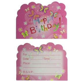 Butterfly Theme Party Invitation Cards (Pack O 10)