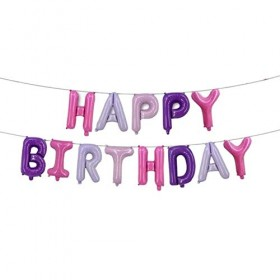 Happy Birthday Letter Foil Balloon set (Pink Color) 13 letters