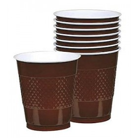 Solid Chocolate Brown Plastic Cups (Pack Of 20)