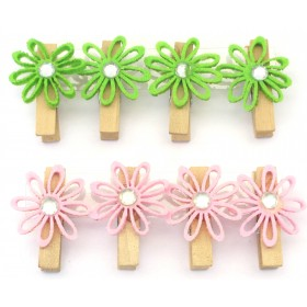 Assorted Flower Designs Clips (Pack Of 8)