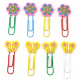 Assorted Flower & Butterfly Designs Clips (Pack Of 8)