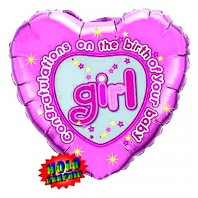 Congratulations Holographic Baby Girl Foil Balloon (Pink) - 18""