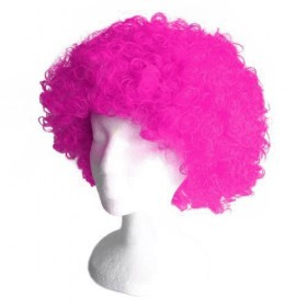 Fluorescent Pink Frizzy Afro Wig