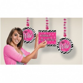 Zebra Party Dangling Cutouts - Personalise It - (Pack Of 3)