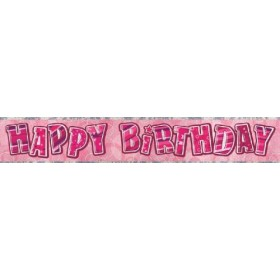 Glitz Birthday Premium Party Banner (Pink)