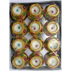 Golden Handi Diyas (with wax) - Pack of 12