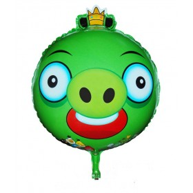 """Angry Birds Green King Pig Foil Balloon - 18"""""""