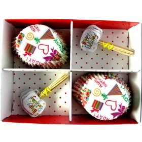 Happy B'day Print Cupcake And Toothpick Set