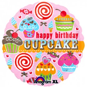 Happy Birthday Cupcake Foil Balloon - 18""