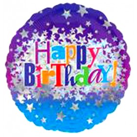 Happy Birthday Holographic Foil Balloon - 18 inch