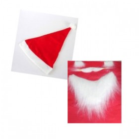 Red Santa Hat With Santa Eyebrows, Moustache & Beard Set