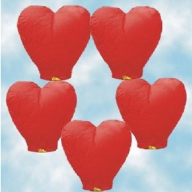 Heart Shape Sky Lanterns (Set Of 5)
