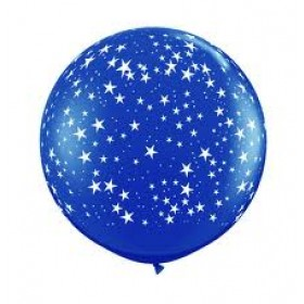 "Star Printed Latex Balloons 18"" - (Pack Of 5) - Blue"