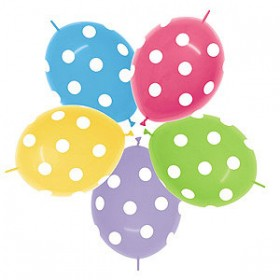 Assorted Polka Dots Link-o-Loon Balloons (Pack of 10)