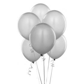 Premium Silver Metallic Latex Balloons (Pack Of 10)  - 12""