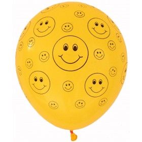 Multiple Smileys Yellow Latex Balloons (Pack of 5)