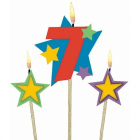 Number 7 Candle and Stars on Stick