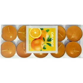Orange Scented Candle With Metal Base (Orange) - Pack of 10