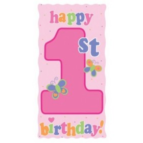 Fun At One Girl - 1st Birthday Door Sign (Pink)