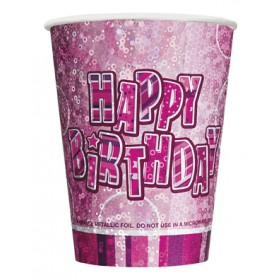 Glitz Birthday Premium Paper Cups (Pink) - Pack Of 8