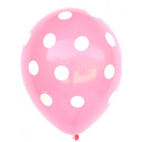 Polka Dots Latex Balloons (Baby Pink) - Pack of 5 - 18""