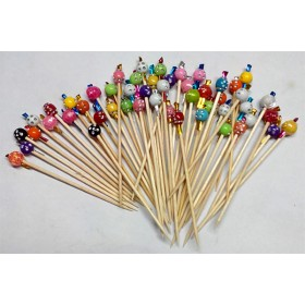 Premium Multi Colored Beads Toothpicks - Large (Pack Of 50)