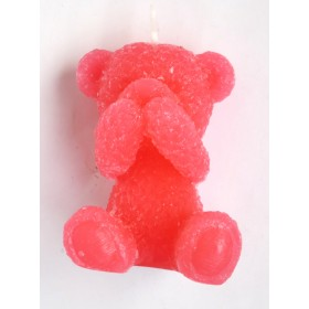 Teddy Bear Candle-Red