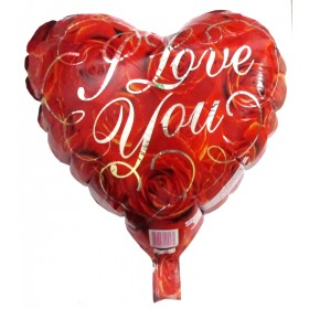 """Heart Shaped Roses Printed I Love You Foil - 18"""""""