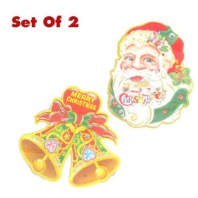 Santa Face & Jingle Bell Christmas cutout decoration ( Set Of 2)