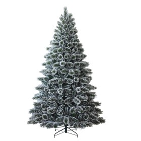 Snow Tipped Pine Christmas Tree With Lights & Ornaments - Easy To Assemble (8 Feet)