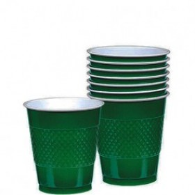 Solid Green Plastic Cups (Pack Of 20)