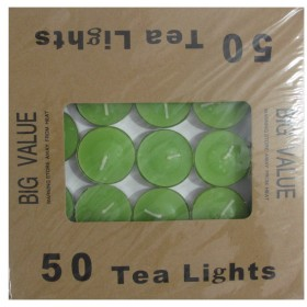 Tea Light Candle With Metal Base (Sea Green) - Pack of 50
