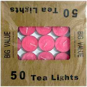 Tea Light Candle With Metal Base (Pink) - Pack of 50