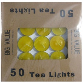 Tea Light Candle With Metal Base (Yellow) - Pack of 50