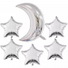 "Silver Star & Moon Foil Balloon 24"" (Pack of 6)"